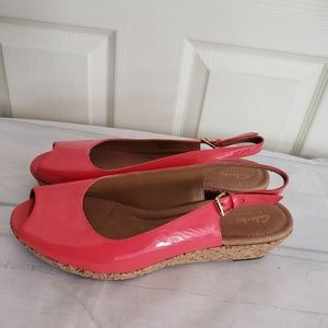 Clark's Coral Wedge Shoes Size 9.5